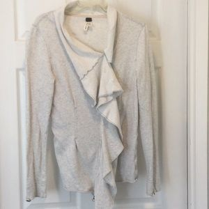 Free People knit jacket in heathered cream sz M
